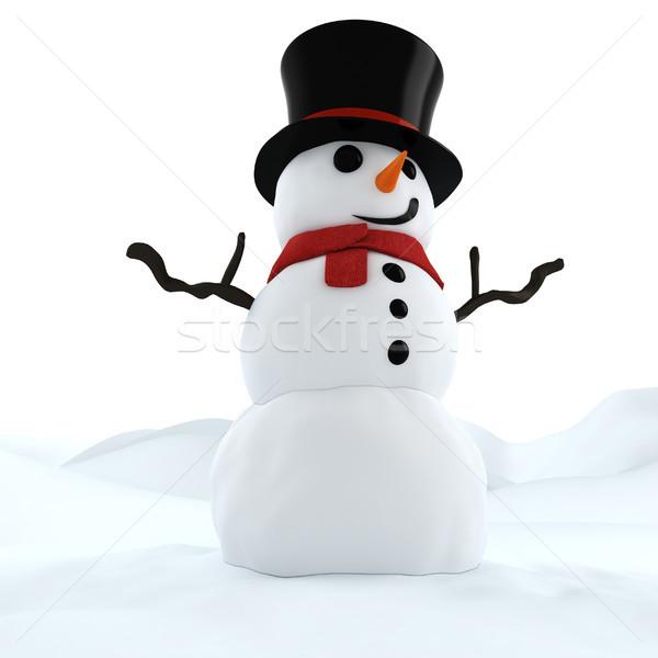 3D divertente pupazzo di neve sfondo ghiaccio vento Foto d'archivio © digitalgenetics