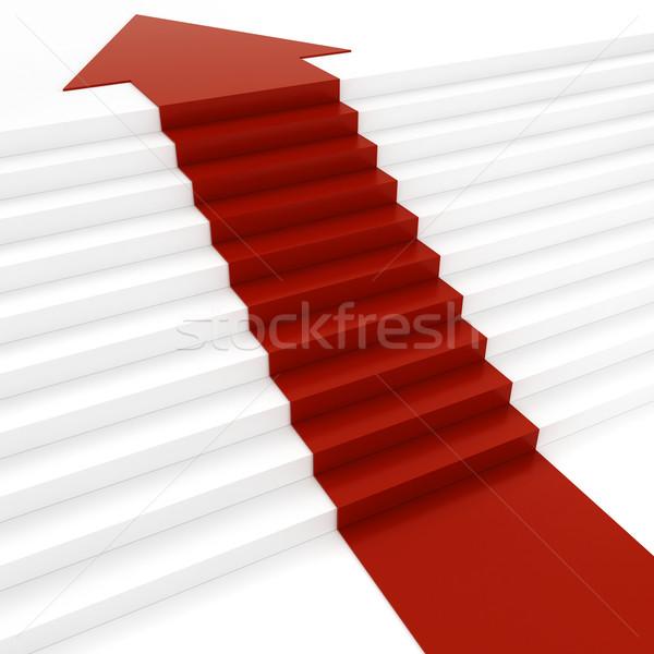 3D rosso arrow bianco stair party Foto d'archivio © digitalgenetics