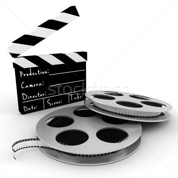 3d movie objects , clipper and reel roll Stock photo © digitalgenetics