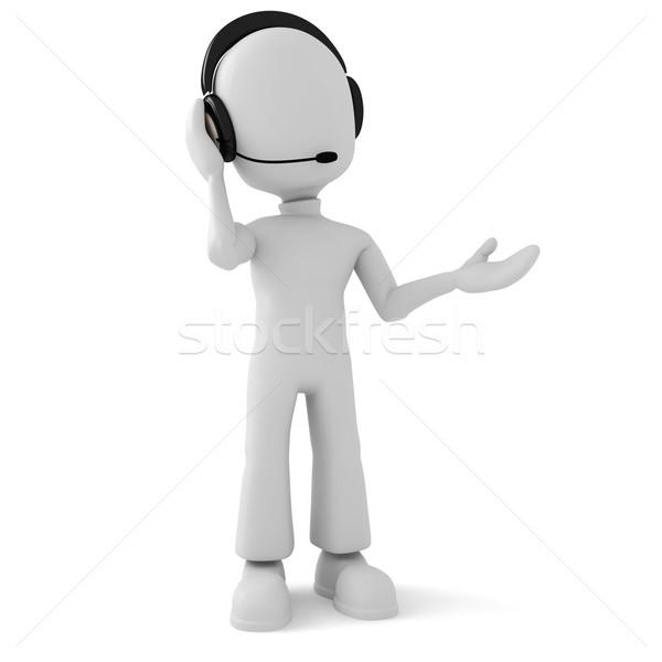 Mężczyzna 3d call center działalności człowiek wiadomości kontakt Zdjęcia stock © digitalgenetics