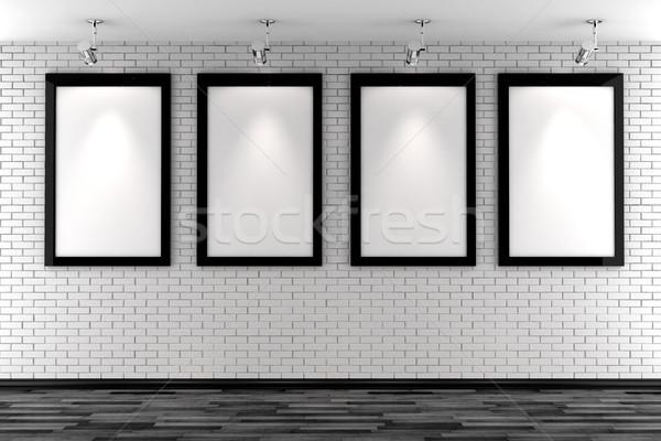 Stock fotó: 3D · keret · fehér · téglafal · fény · otthon