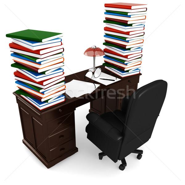 3d desk render, on white background Stock photo © digitalgenetics