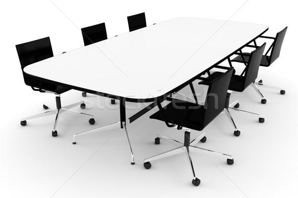 ストックフォト: 3D · 会議 · 表 · 白 · 光 · 背景