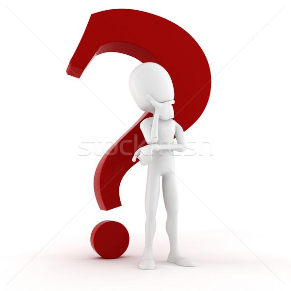 Uomo 3d pensare qualcosa grande rosso punto di domanda Foto d'archivio © digitalgenetics