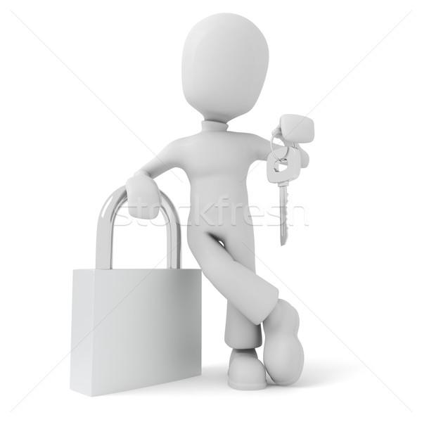 3d man holding a key, isolated on white Stock photo © digitalgenetics