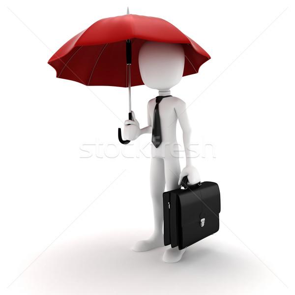 3d man parapluie sécurité affaires homme Photo stock © digitalgenetics