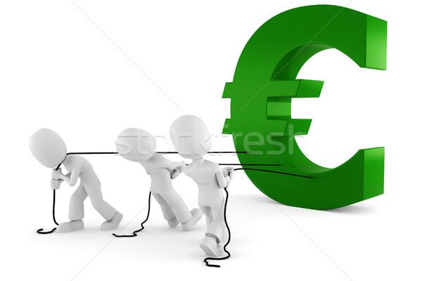 3d man pulling the Euro symbol Stock photo © digitalgenetics