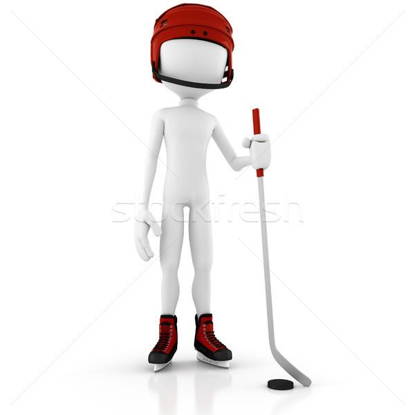 Mężczyzna 3d człowiek tle zabawy Hokej Zdjęcia stock © digitalgenetics