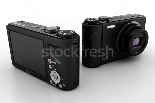 3D digitális fényképezőgép stúdió render fekete fehér Stock fotó © digitalgenetics