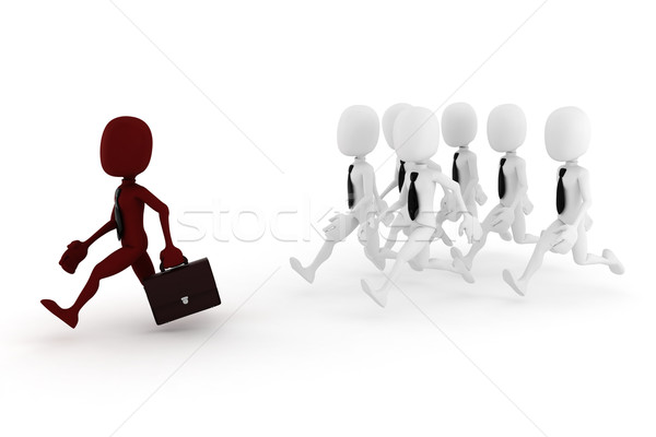 3d man, business man chased by some other 3d men Stock photo © digitalgenetics