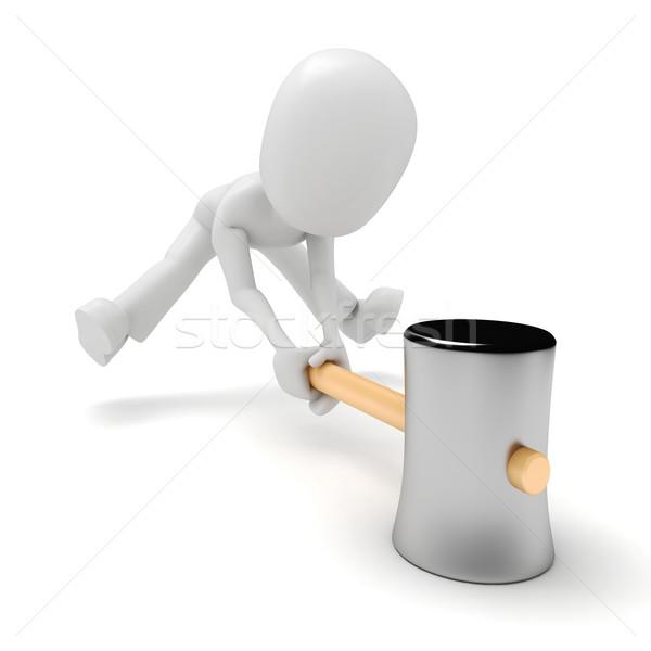 3次元の男 ビッグ ハンマー ビジネス 手 男 ストックフォト © digitalgenetics