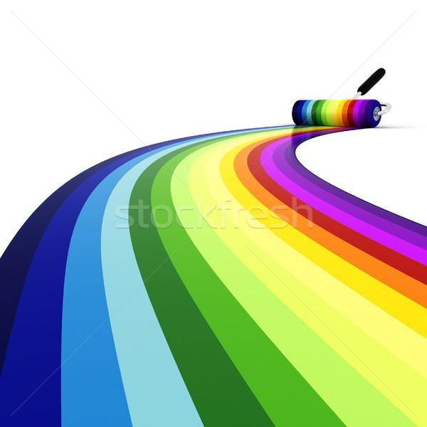 3D tęczy ściany pracy streszczenie farby Zdjęcia stock © digitalgenetics