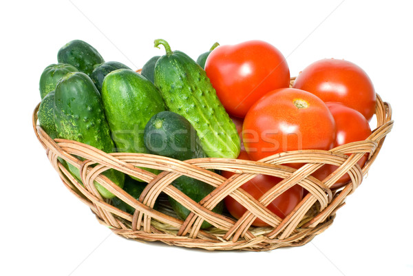 Wicker basket with some tomatoes and cucumbers Stock photo © digitalr