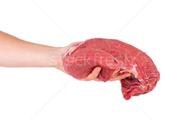 Hand hold raw veal slab Stock photo © digitalr