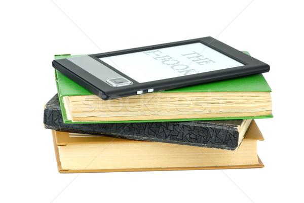 Ebook lector clásico papel libros aislado Foto stock © digitalr