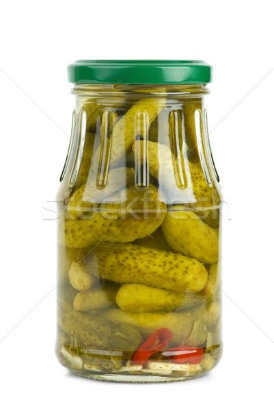 Glass jar with marinated cornichons Stock photo © digitalr