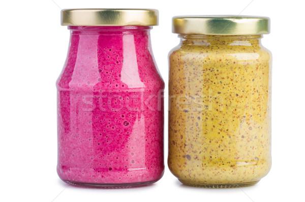 Verre moutarde raifort sauce jar rouge Photo stock © digitalr