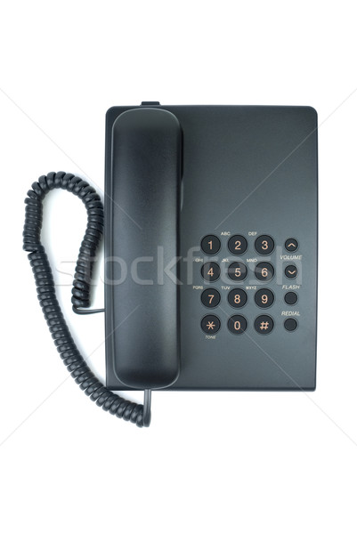 Black office phone with handset on-hook Stock photo © digitalr
