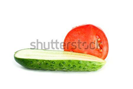 Halves of tomato and cucumber Stock photo © digitalr