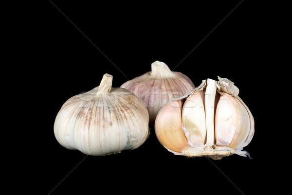 Stok fotoğraf: Sarımsak · bütün · yarım · siyah · gıda · beyaz