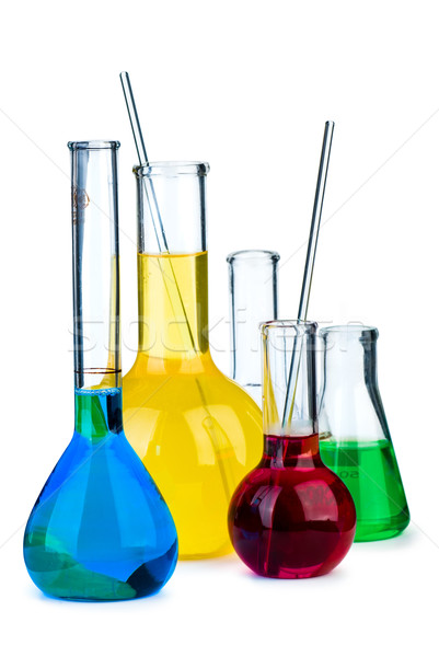Five flasks with different chemical agents Stock photo © digitalr