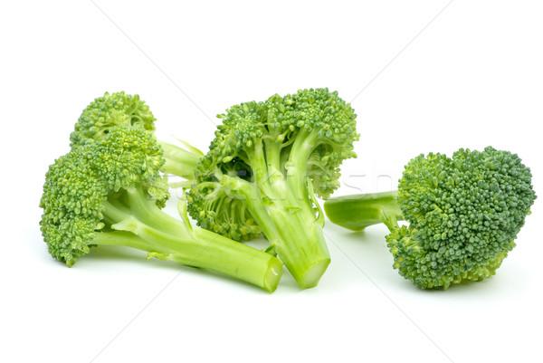 Stockfoto: Drie · broccoli · stukken · geïsoleerd · witte · groene