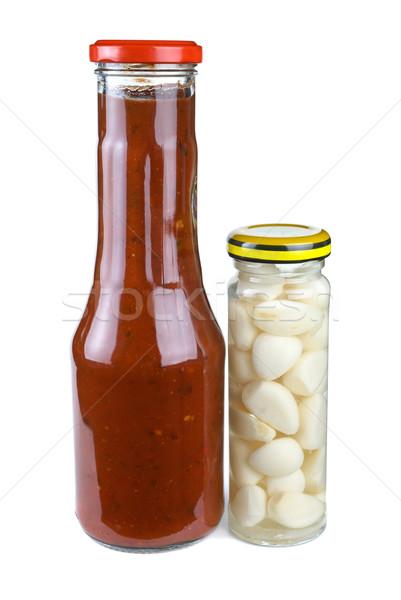 бутылок томатный кетчуп маринованный чеснока изолированный Сток-фото © digitalr
