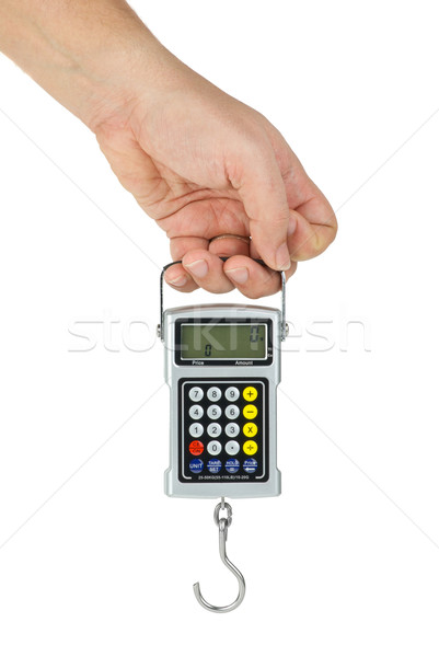 Hand hold digital fishhook scales Stock photo © digitalr