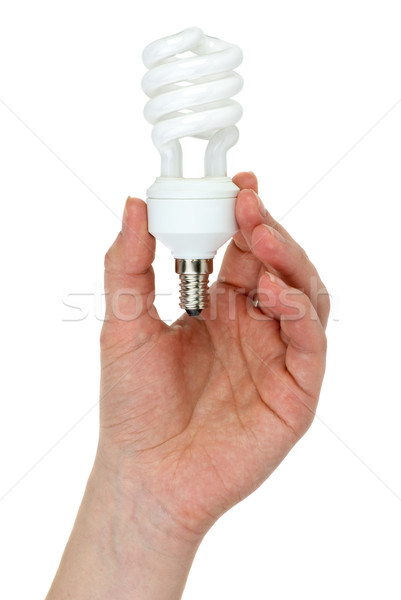 Hand holding compact spiral-shaped fluorescent lamp Stock photo © digitalr