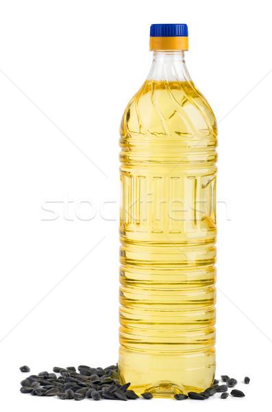 Garrafa óleo de girassol sementes isolado branco plástico Foto stock © digitalr
