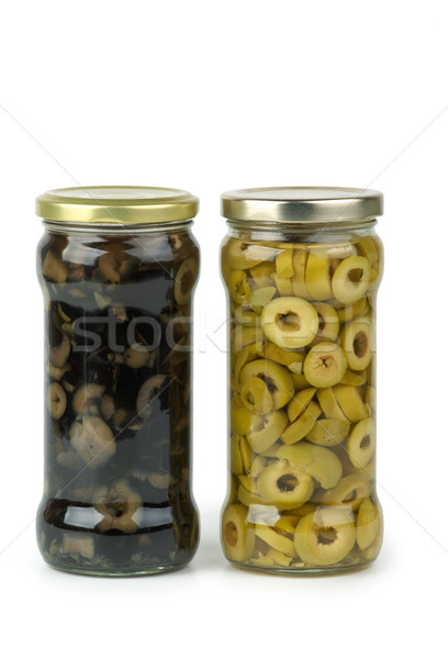 Foto stock: Vidrio · jar · verde · aceitunas · negras · aislado