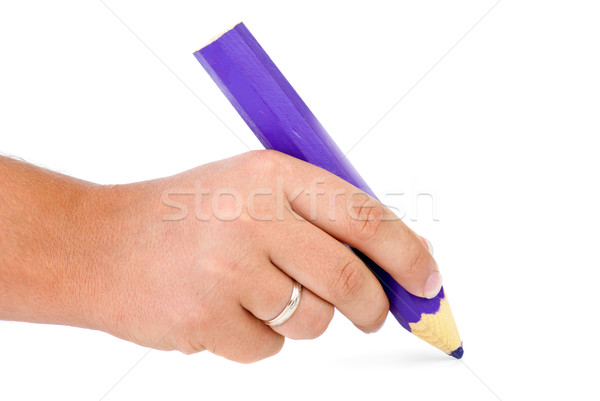 Hand with big violet wooden pencil Stock photo © digitalr