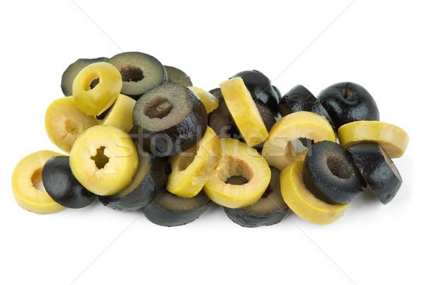 Verde azeitonas pretas isolado branco comida Foto stock © digitalr