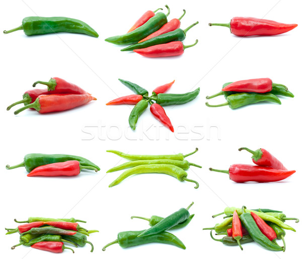 Set of different chili peppers Stock photo © digitalr