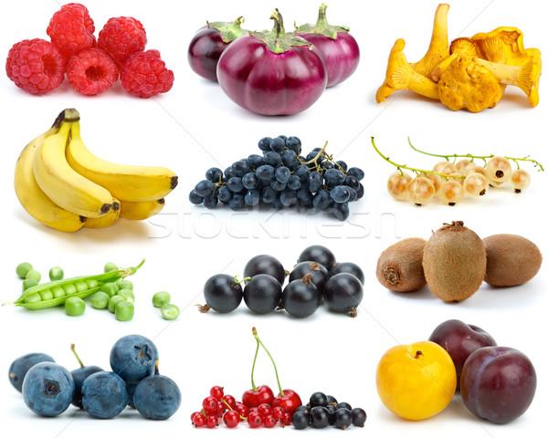 Foto d'archivio: Set · frutti · frutti · di · bosco · verdura · funghi · diverso