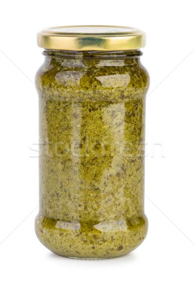 Cam kavanoz pesto sos yalıtılmış beyaz Stok fotoğraf © digitalr