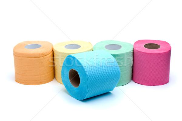 Diverso colorato carta igienica isolato bianco arancione Foto d'archivio © digitalr