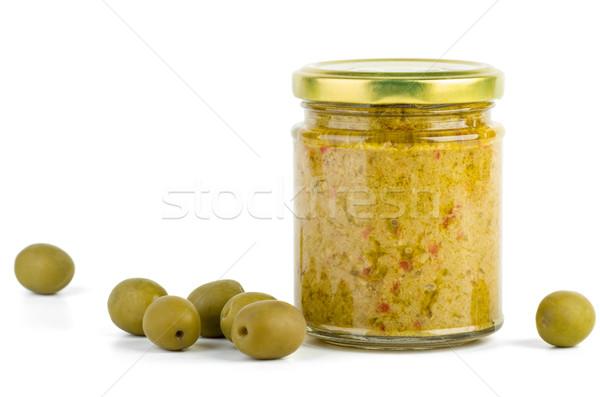 ガラス jarファイル オリーブ 孤立した 白 緑 ストックフォト © digitalr