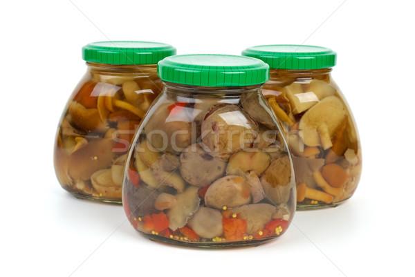 Vetro marinato funghi isolato bianco sfondo Foto d'archivio © digitalr
