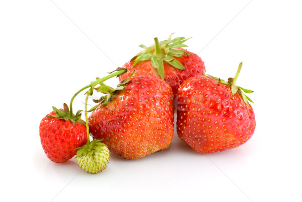 Some ripe red and one unripe strawberries Stock photo © digitalr