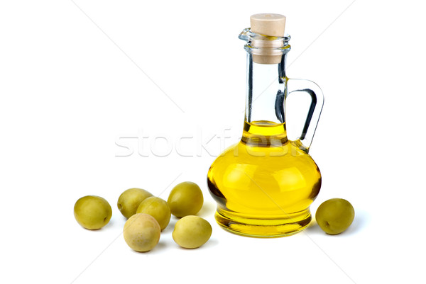 Faible huile d'olive olives isolé blanche verre Photo stock © digitalr