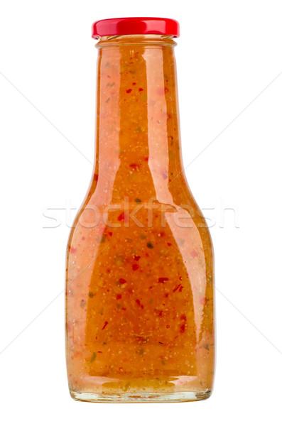 şişe tatlı Asya kırmızı biber sos yalıtılmış Stok fotoğraf © digitalr