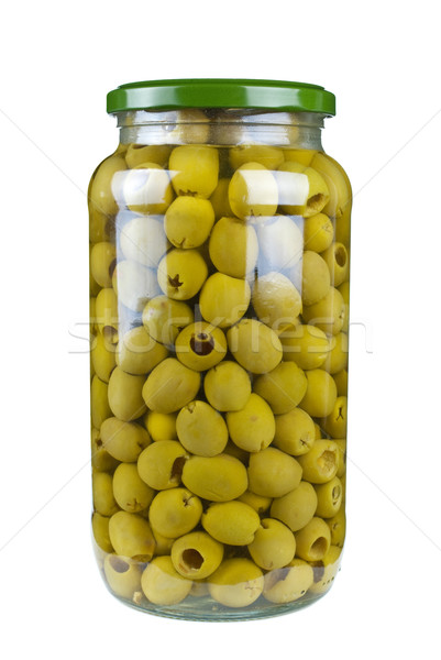 Glass jar with pitted green olives Stock photo © digitalr