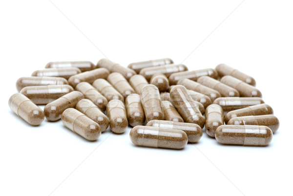 Homeopáticos marrón pastillas aislado blanco salud Foto stock © digitalr