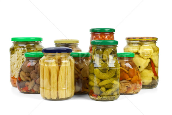 Glass jars with marinated vegetables and mushrooms Stock photo © digitalr