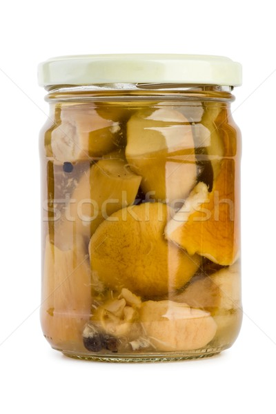 Glass jar with pickled cepe mushrooms Stock photo © digitalr