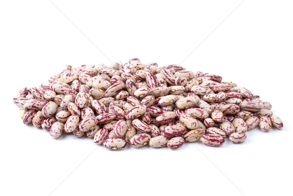 Stock photo: Pile of white-red spotty haricot beans