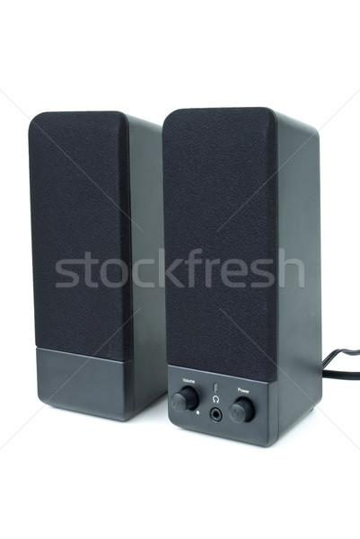 Ucuz siyah bilgisayar hoparlörler yalıtılmış beyaz Stok fotoğraf © digitalr