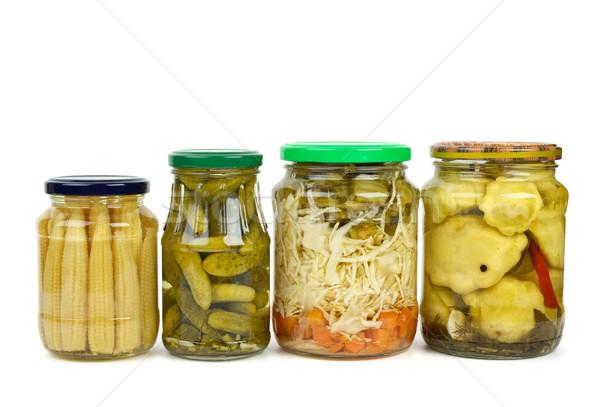 Stockfoto: Glas · gemarineerd · groenten · mais · oren · komkommers