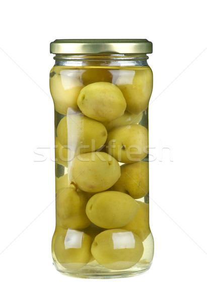 Verre jar mariné géant olives isolé Photo stock © digitalr
